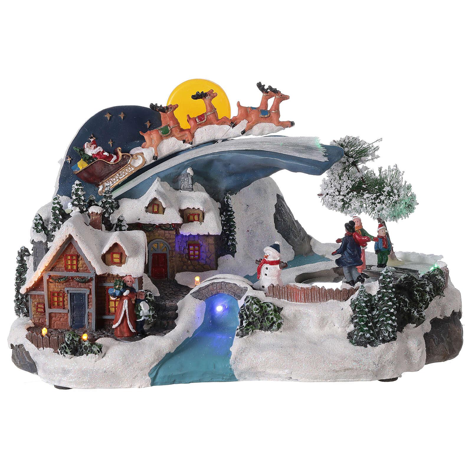 Village Noël traîneau Père Noël lune LED musique 20x35x20 cm 3