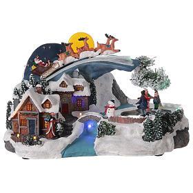 Village Noël traîneau Père Noël lune LED musique 20x35x20 cm s1