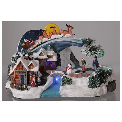 Village Noël traîneau Père Noël lune LED musique 20x35x20 cm 2