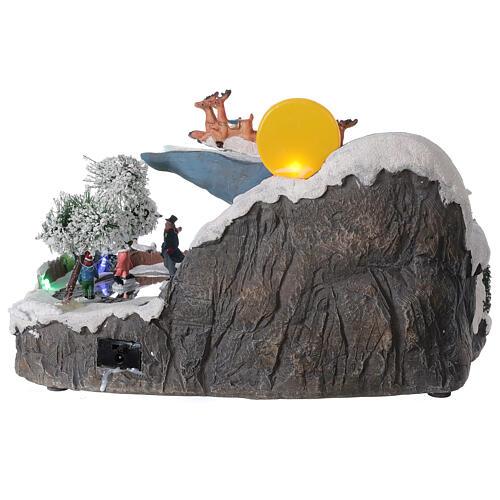 Village Noël traîneau Père Noël lune LED musique 20x35x20 cm 5