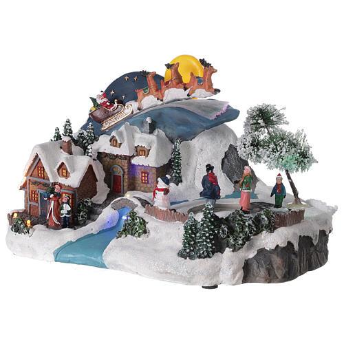 Christmas village sleigh Santa Claus moon LED music 20x35x20 cm 3