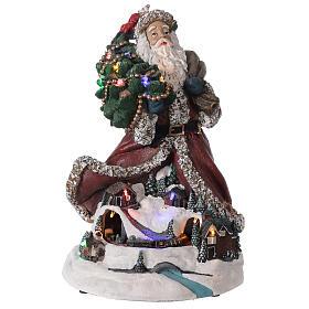Babbo Natale villaggio trenino luci musica 35x20x25 cm s1