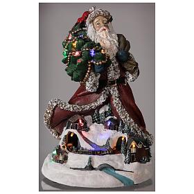 Babbo Natale villaggio trenino luci musica 35x20x25 cm s2
