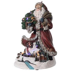 Babbo Natale villaggio trenino luci musica 35x20x25 cm s3
