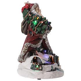 Babbo Natale villaggio trenino luci musica 35x20x25 cm s4