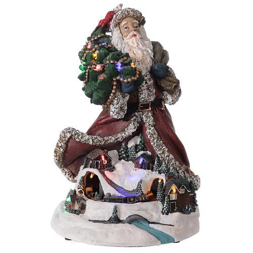 Babbo Natale villaggio trenino luci musica 35x20x25 cm 1