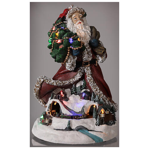 Babbo Natale villaggio trenino luci musica 35x20x25 cm 2