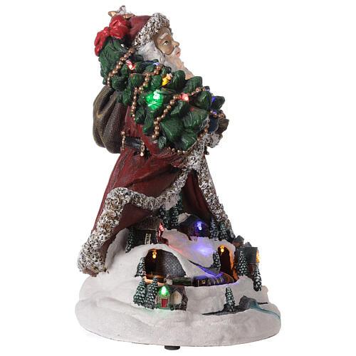 Babbo Natale villaggio trenino luci musica 35x20x25 cm 4