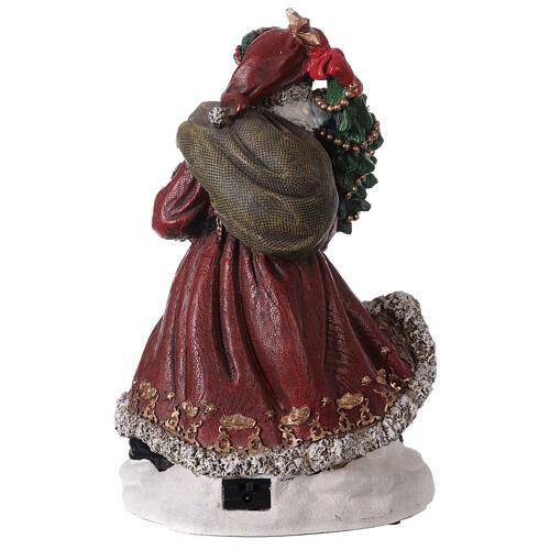Babbo Natale villaggio trenino luci musica 35x20x25 cm 5
