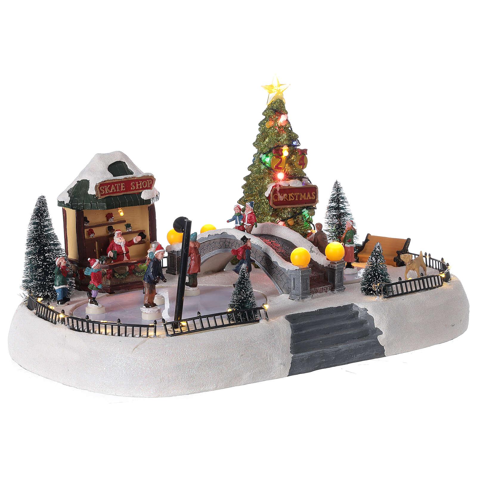 Christmas village ice skaters LED lights music 35x45x30 cm 3