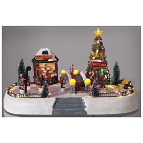 Christmas village ice skaters LED lights music 35x45x30 cm s2