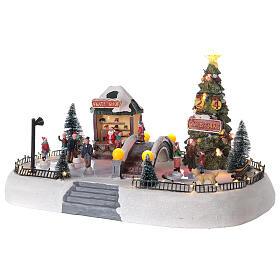 Christmas village ice skaters LED lights music 35x45x30 cm s3