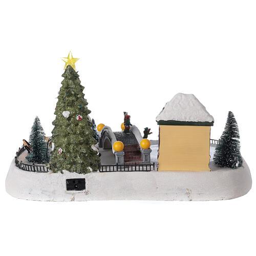 Christmas village ice skaters LED lights music 35x45x30 cm 5