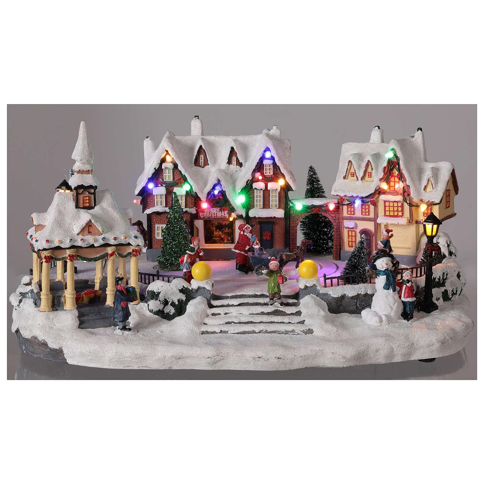 Village Noël enneigé place LED musique 25x45x30 cm 3