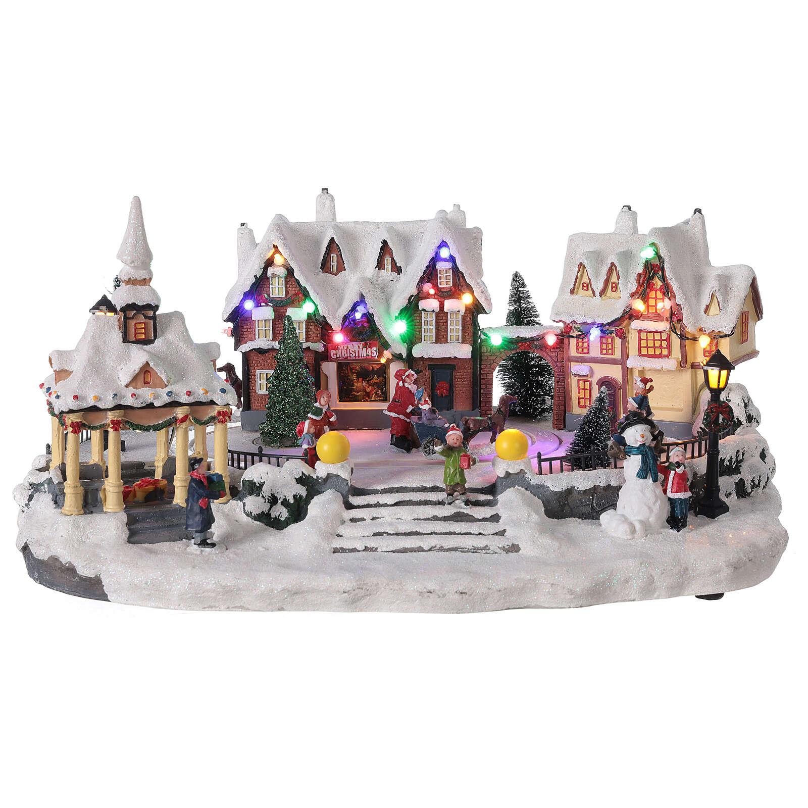Villaggio natalizio innevato piazza led musica 25x45x30 cm 3