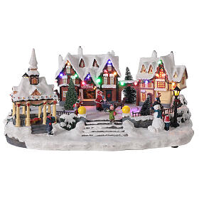 Villaggio natalizio innevato piazza led musica 25x45x30 cm s1