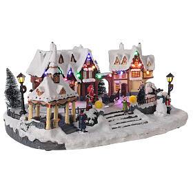 Villaggio natalizio innevato piazza led musica 25x45x30 cm s3