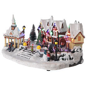 Villaggio natalizio innevato piazza led musica 25x45x30 cm s4