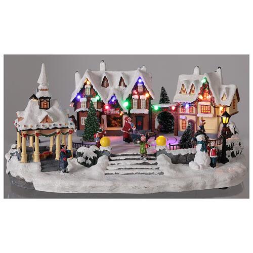 Villaggio natalizio innevato piazza led musica 25x45x30 cm 2