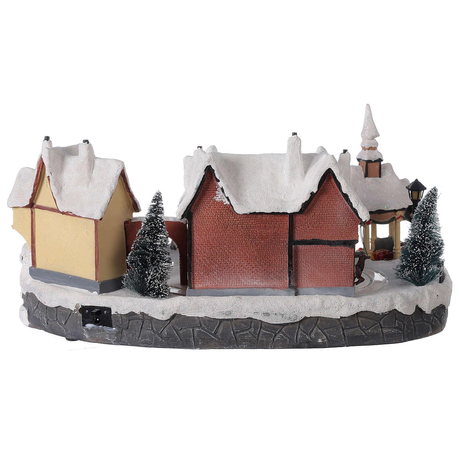 Christmas village snowy square LED lighting music 25x45x30 cm 3