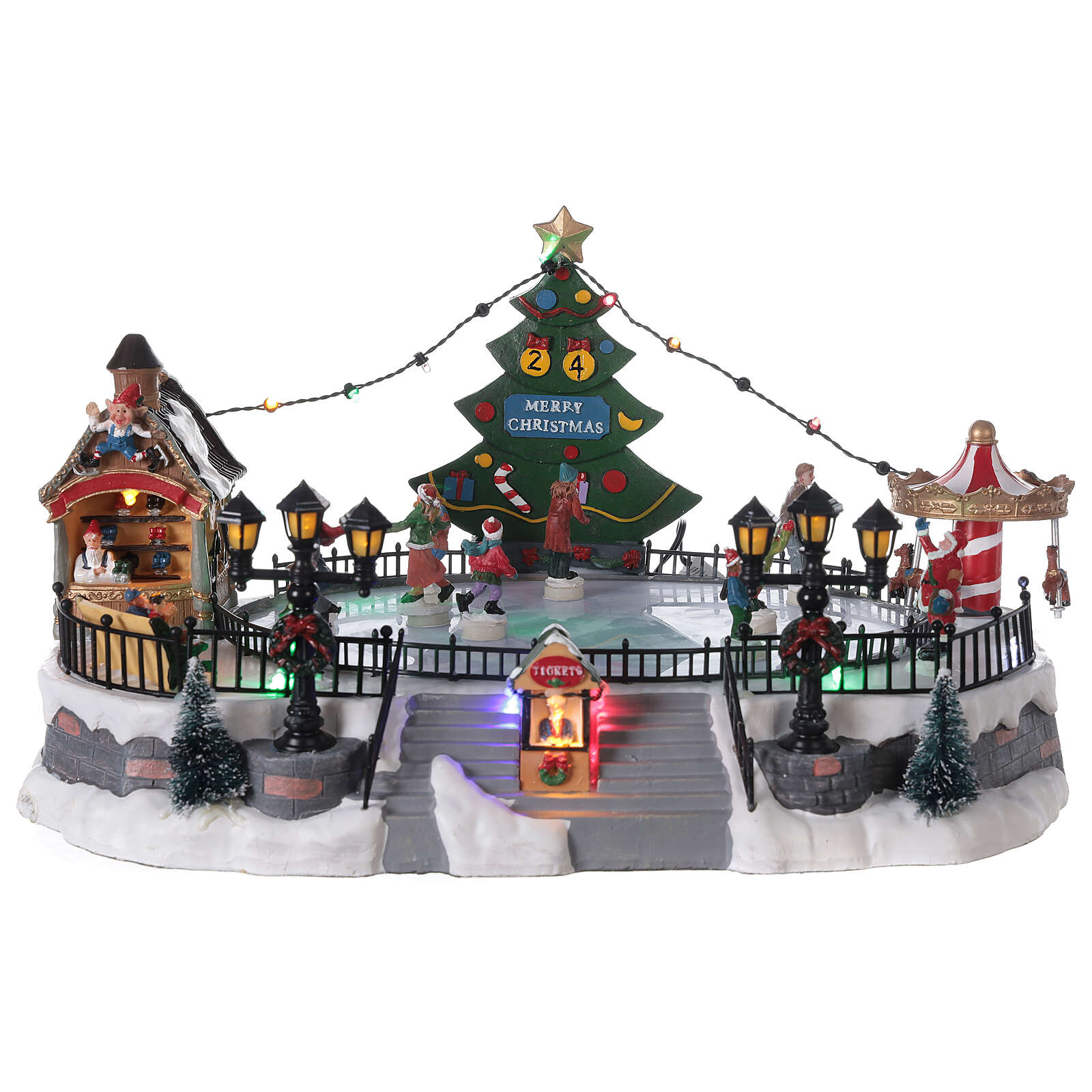 Pista pattinaggio villaggio Natale luci musica 20x40x30 cm 3