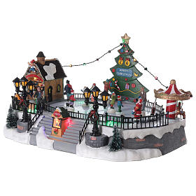 Pista pattinaggio villaggio Natale luci musica 20x40x30 cm s3
