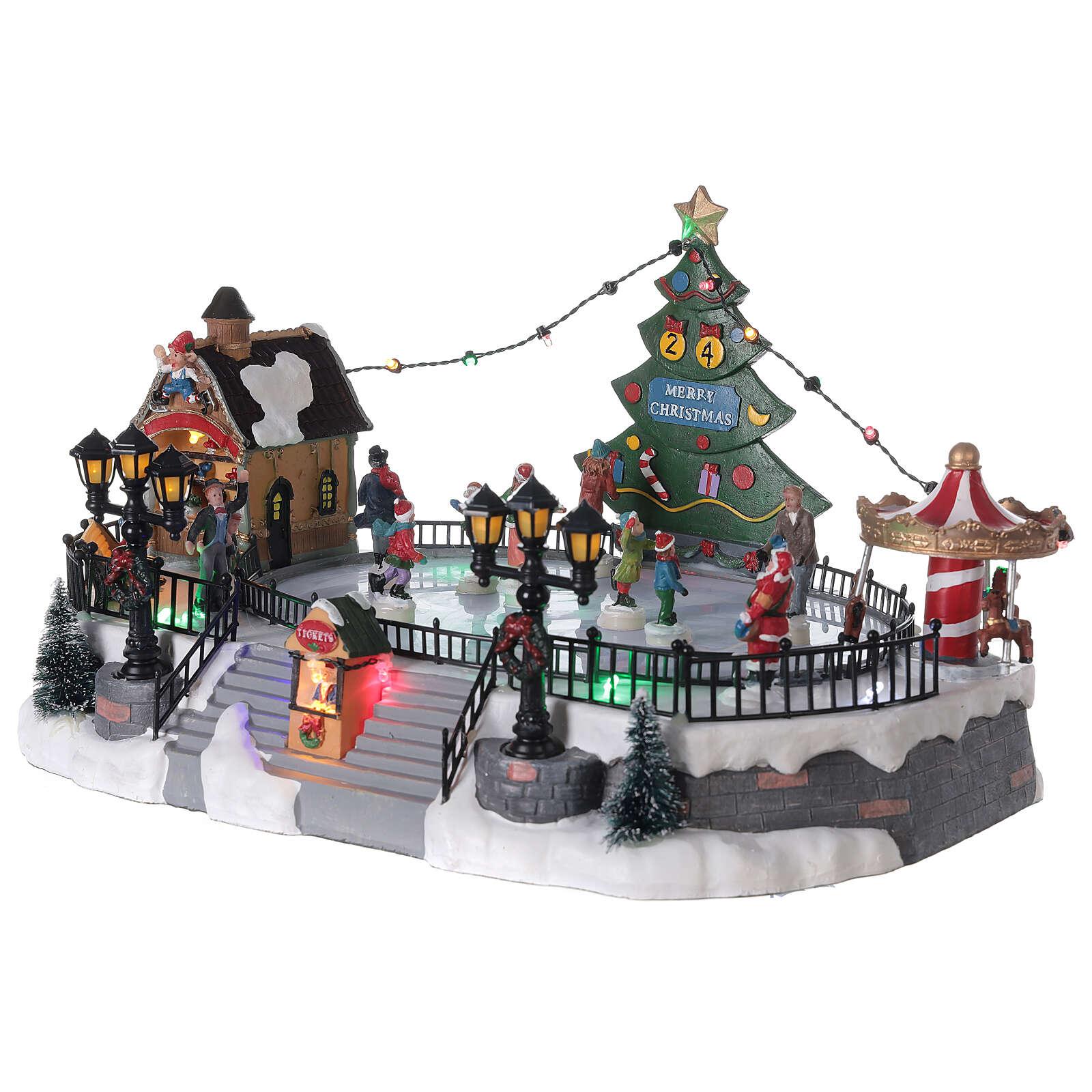 Ice rink Christmas village lights music 20x40x30 cm 3