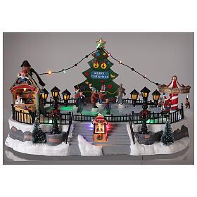 Ice rink Christmas village lights music 20x40x30 cm s2