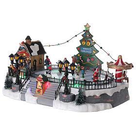 Ice rink Christmas village lights music 20x40x30 cm s3