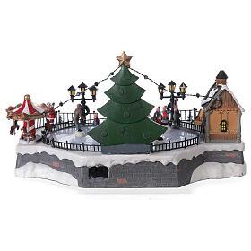 Ice rink Christmas village lights music 20x40x30 cm s5