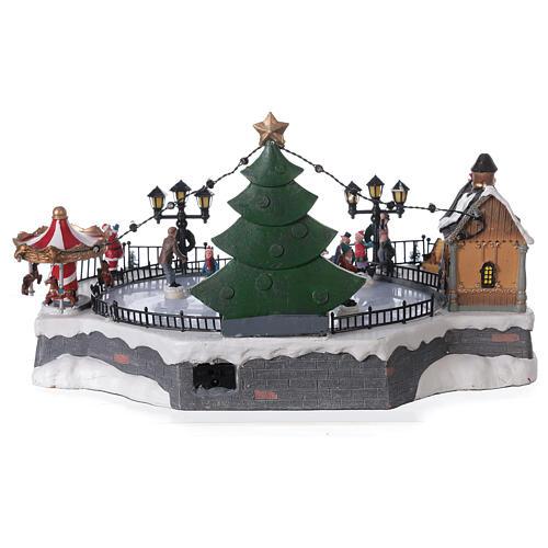 Ice rink Christmas village lights music 20x40x30 cm 5