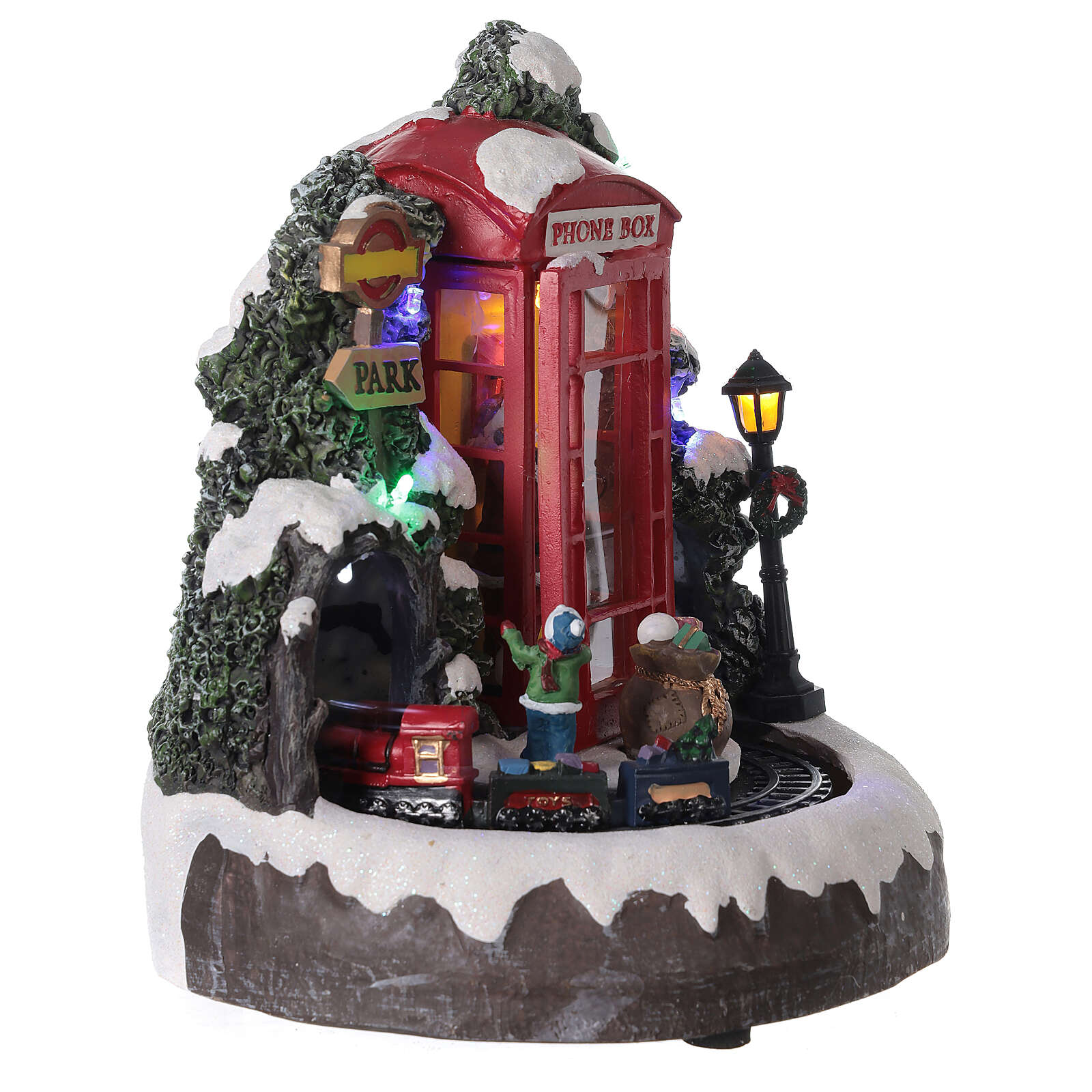 Phone booth Santa Claus village with train lights music 20x20x20 cm 3