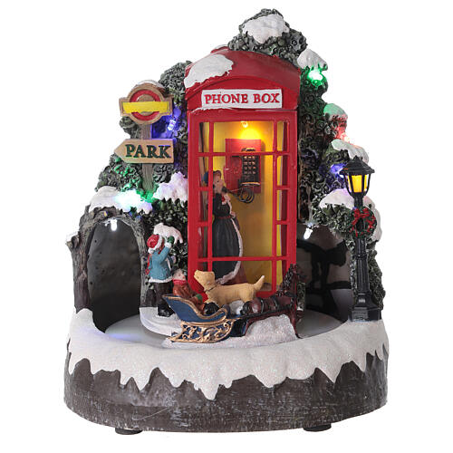 Phone booth Santa Claus village with train lights music 20x20x20 cm 1
