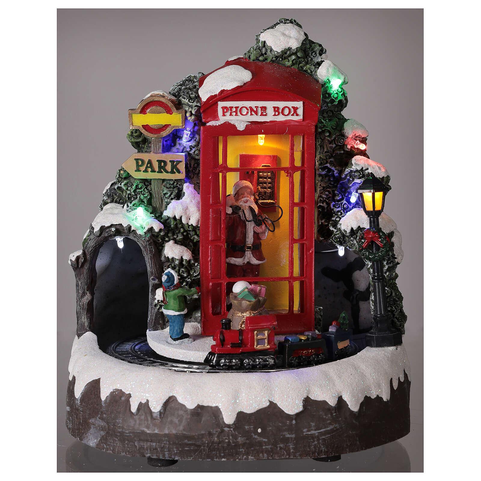 Cabina telefonica Babbo Natale trenino luci musica 20x20x20 cm 3