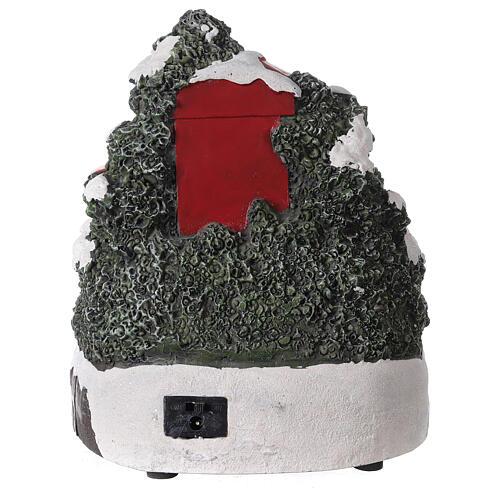 Cabina telefonica Babbo Natale trenino luci musica 20x20x20 cm 4