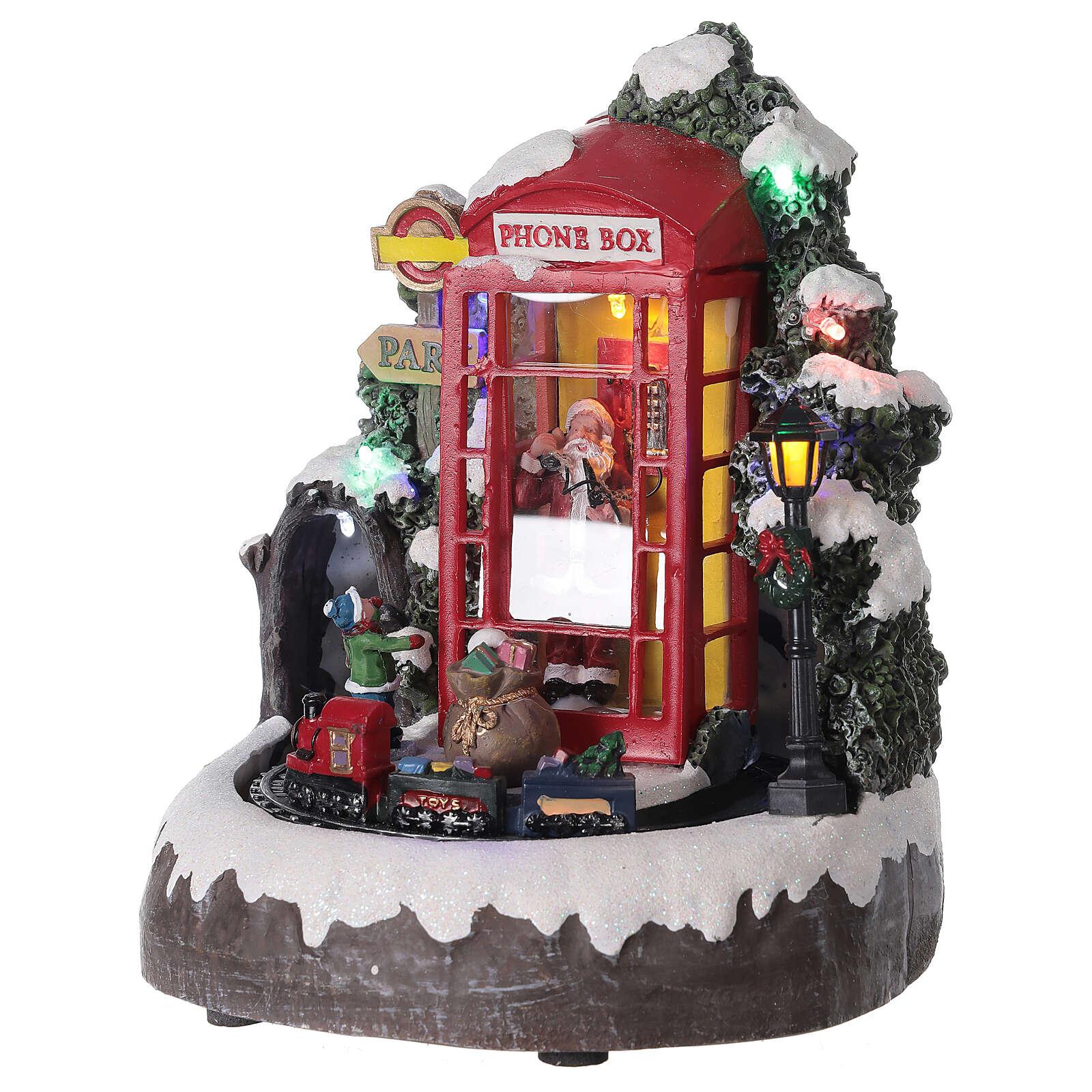 Phone booth Santa Claus village with train lights music 20x20x20 cm 3