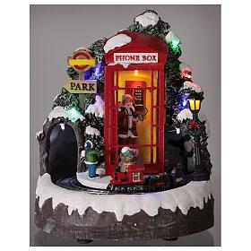 Phone booth Santa Claus village with train lights music 20x20x20 cm s2