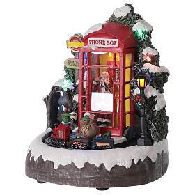 Phone booth Santa Claus village with train lights music 20x20x20 cm s5