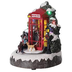 Cabine téléphonique anglaise famille carrosse lumières musique 20x20x20 cm s4