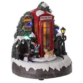 Phone box English family carriage music lights 20x20x20 cm s3