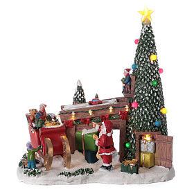 Villaggio natalizio fabbrica regali Babbo Natale luci musica 30x30x15 s1
