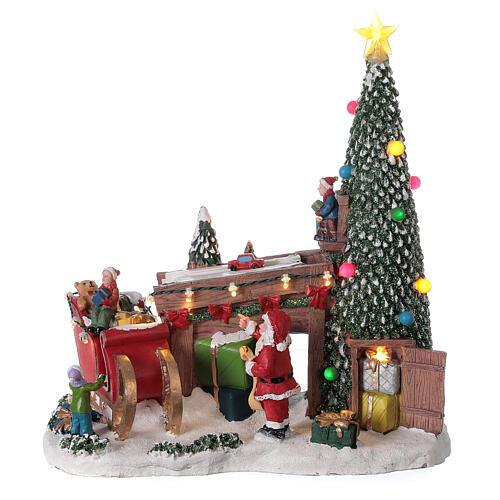 Villaggio natalizio fabbrica regali Babbo Natale luci musica 30x30x15 1