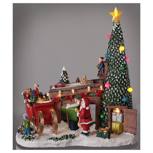Villaggio natalizio fabbrica regali Babbo Natale luci musica 30x30x15 2