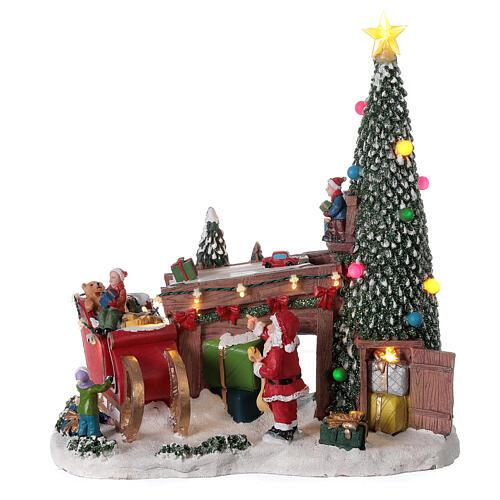 Villaggio natalizio fabbrica regali Babbo Natale luci musica 30x30x15 3