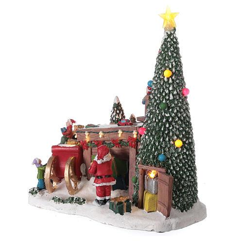 Villaggio natalizio fabbrica regali Babbo Natale luci musica 30x30x15 4