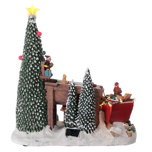 Villaggio natalizio fabbrica regali Babbo Natale luci musica 30x30x15 6