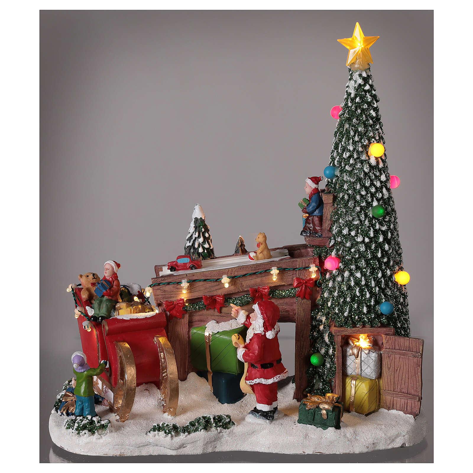 Christmas village Santa's toy workshop lights music 30x30x15 cm 3