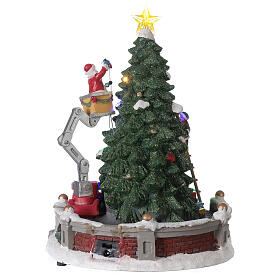 Christmas village Santa Claus crane lights music 25x20x20 cm s5