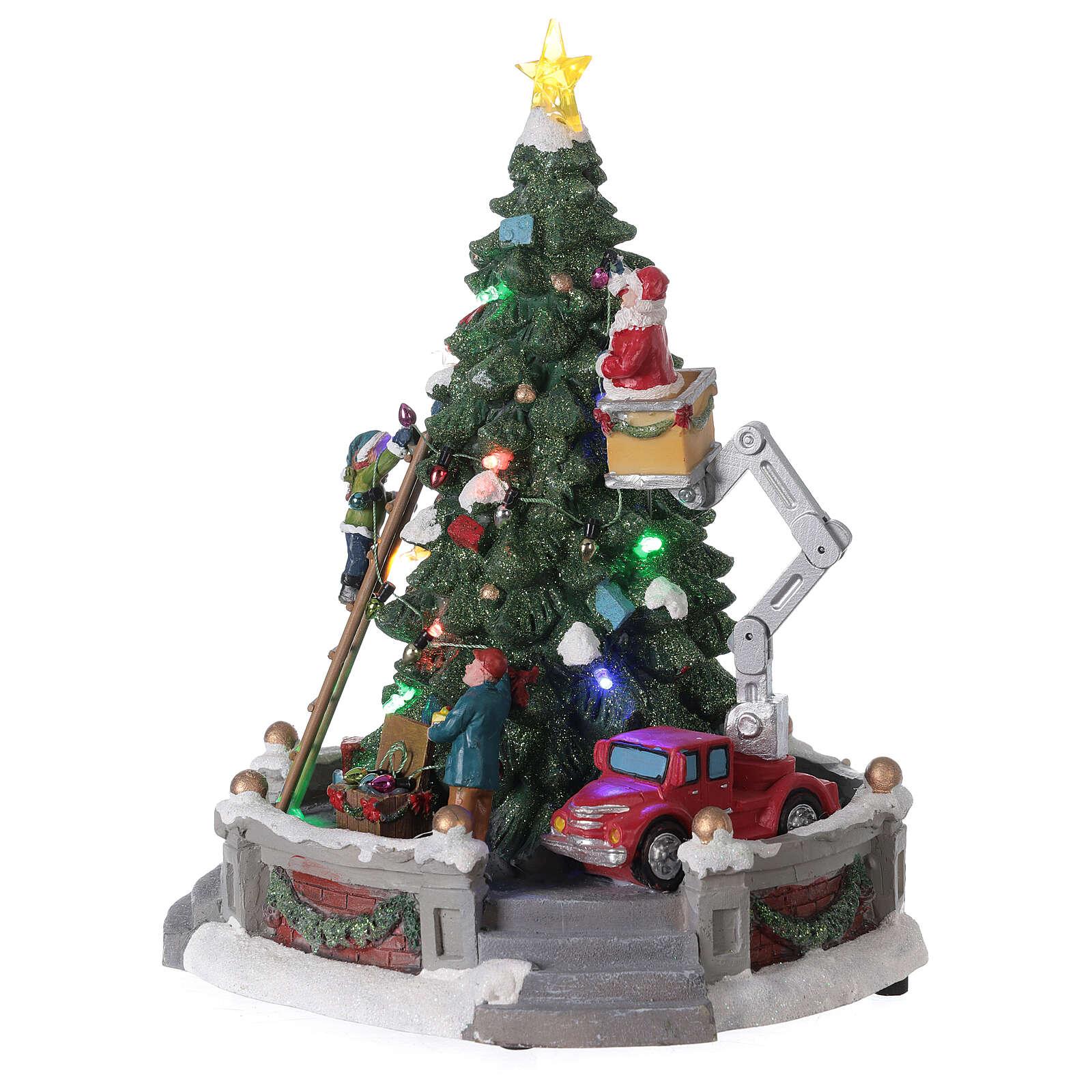 Sapin Noël village Père Noël nacelle lumières musique 25x20x20 cm 3
