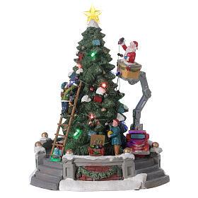 Sapin Noël village Père Noël nacelle lumières musique 25x20x20 cm s1
